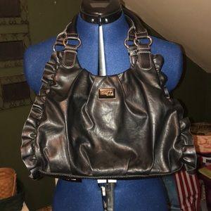 Nine & Co., black ruffle shoulder bag EUC